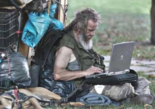 tramp with laptop