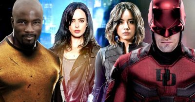 Marvel Comics TV heroes Luke Cage (Power Man), Jessica Jones, Daisy Johnson (Quake) and Matt Murdock (Daredevil)