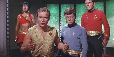 "Uhura, Kirk, McCoy and Scotty in the Star Trek episode ""Mirror, Mirror"""