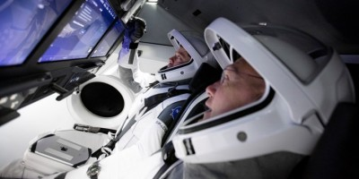 Astronauts aboard the SpaceX Falcon 9 Dragon capsule