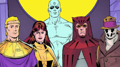 Ozymandias, Silk Spectre, Doctor Manhattan, Nite Owl and Rorschach, by Dave Gibbons