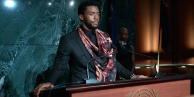 Chadwick Boseman as T'Challa, addressing the United Nations at the end of the movie Black Panther
