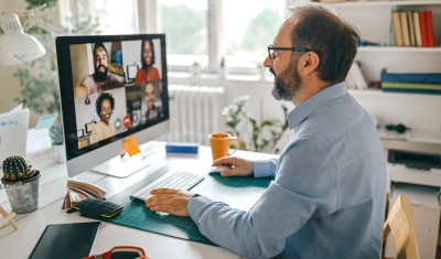 teleworker on video call
