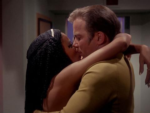 William Shatner and France Nuyen kiss in the Star Trek episode Elaan of Troyius