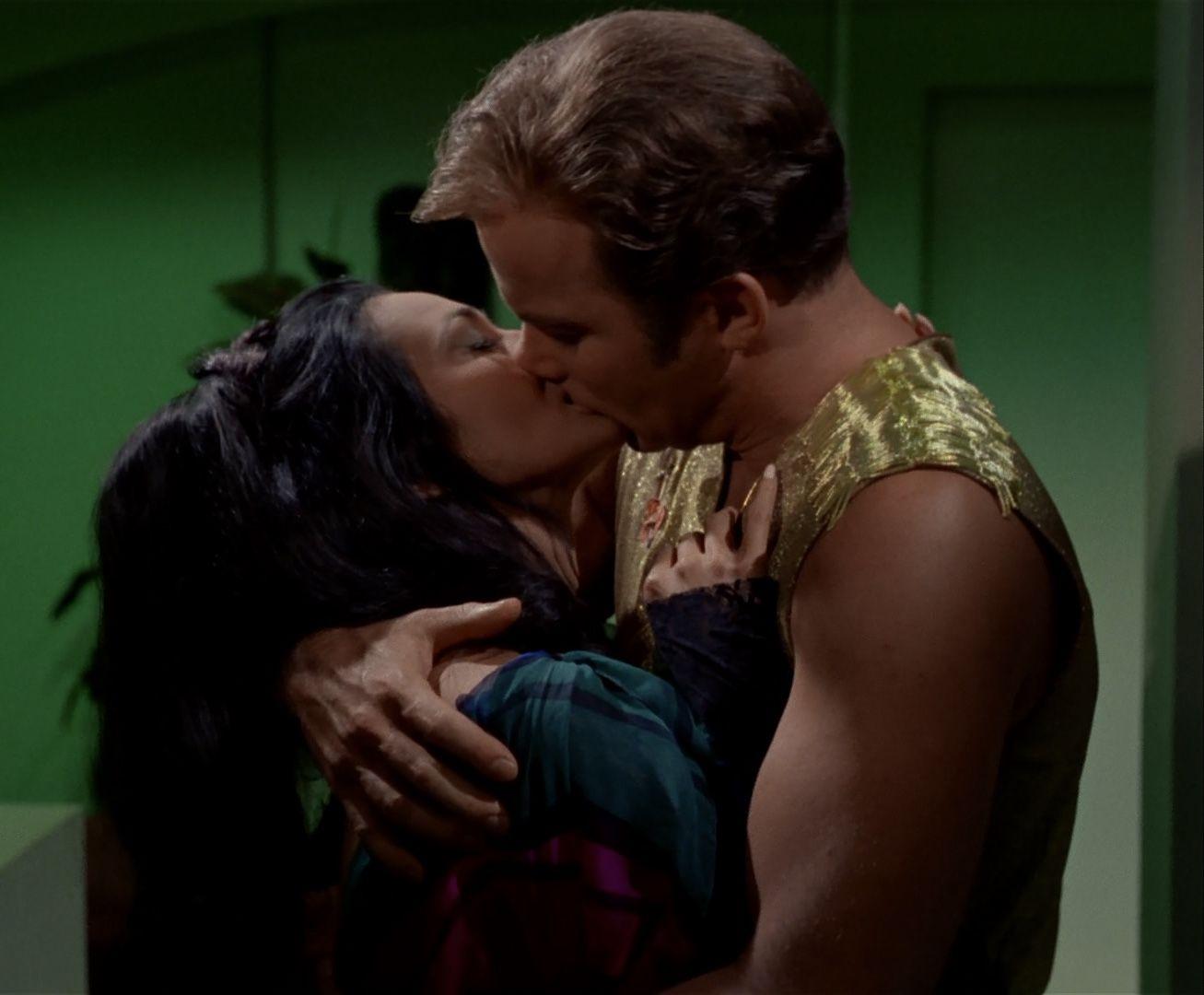 William Shatner and Barbara Luna kiss in the Star Trek episode Mirror, Mirror
